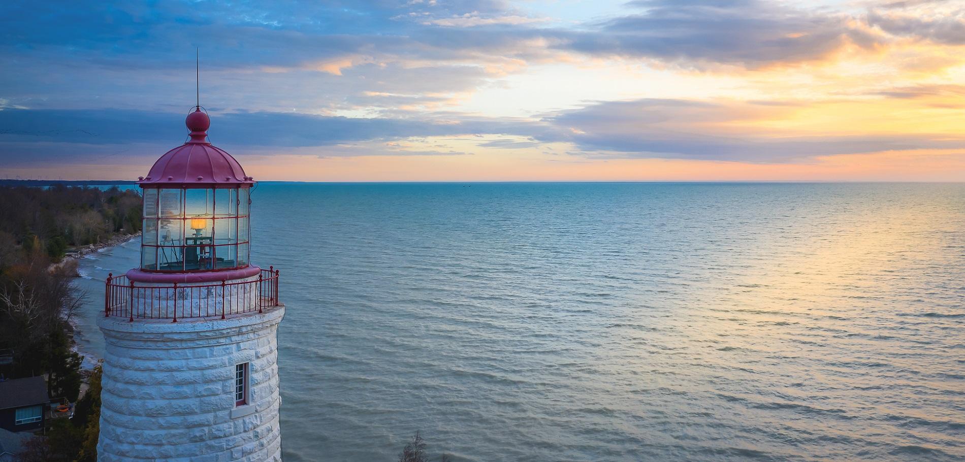 Point Clark Lighthouse at sunset