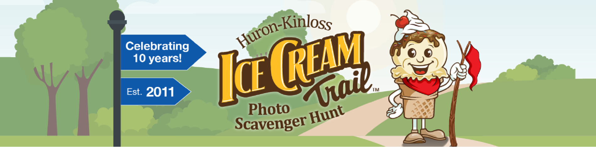 Ice Cream Trail logo and text saying