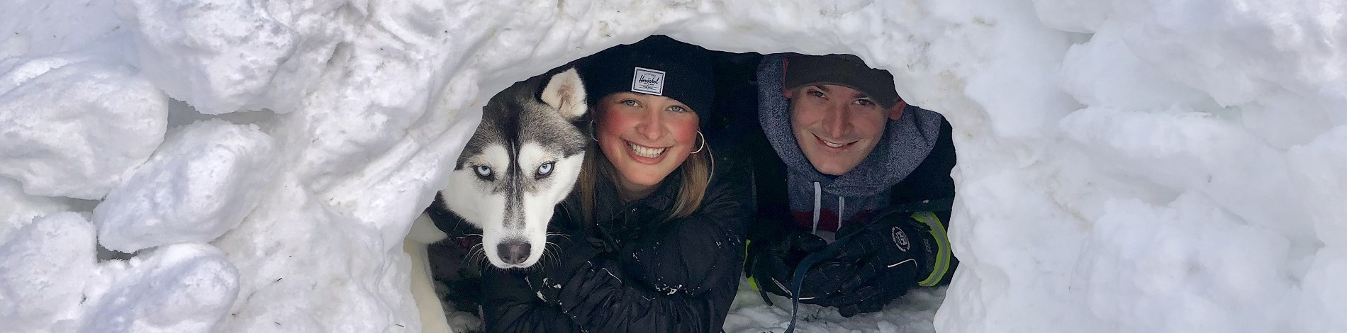 Woman-man-dog-igloo