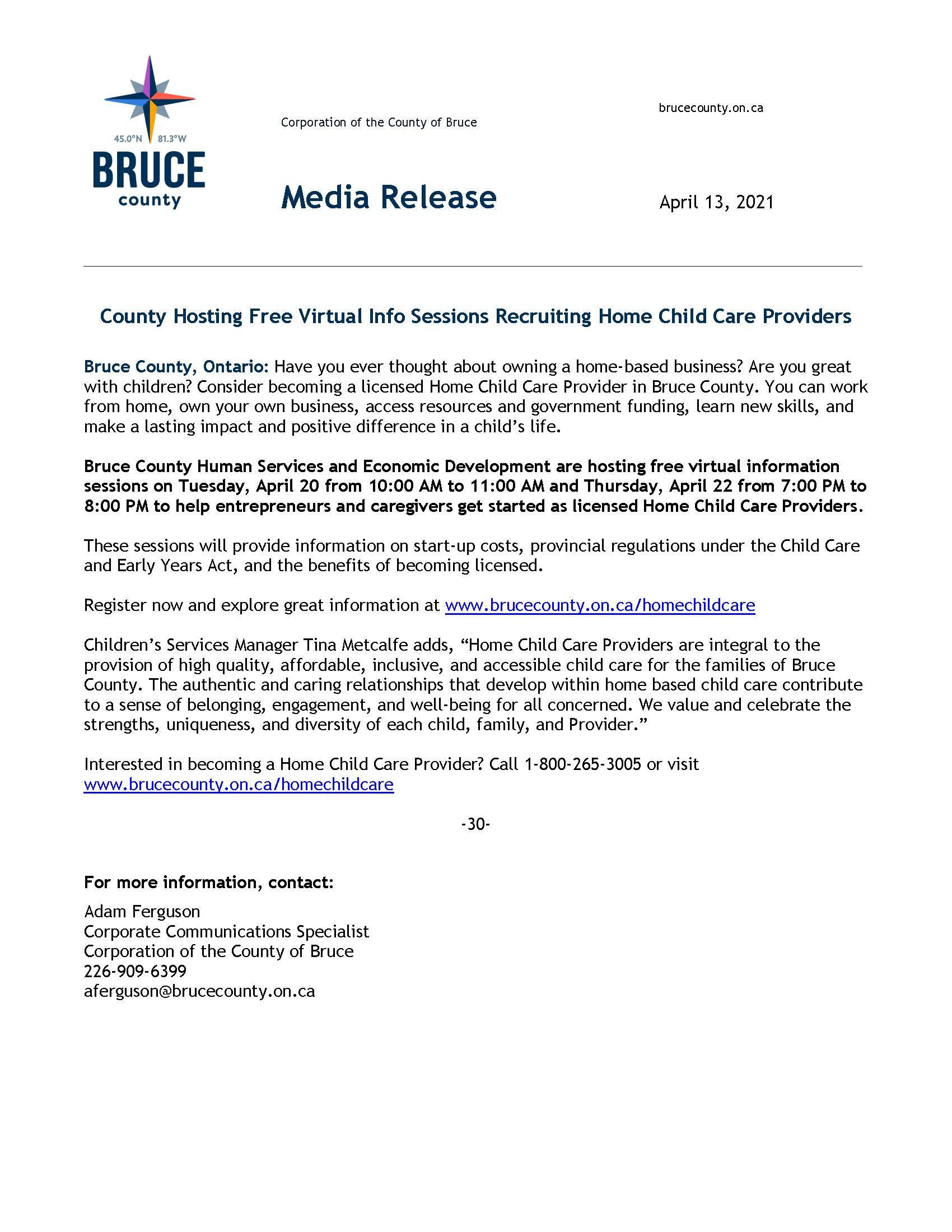 Bruce County Home Child Care Recruitment